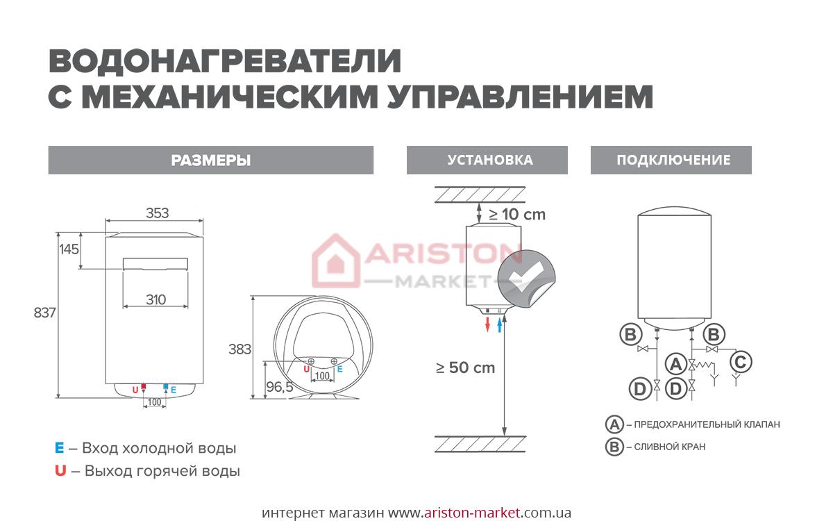 Ariston ABS PRO R 50 V Slim схема, габарити, креслення