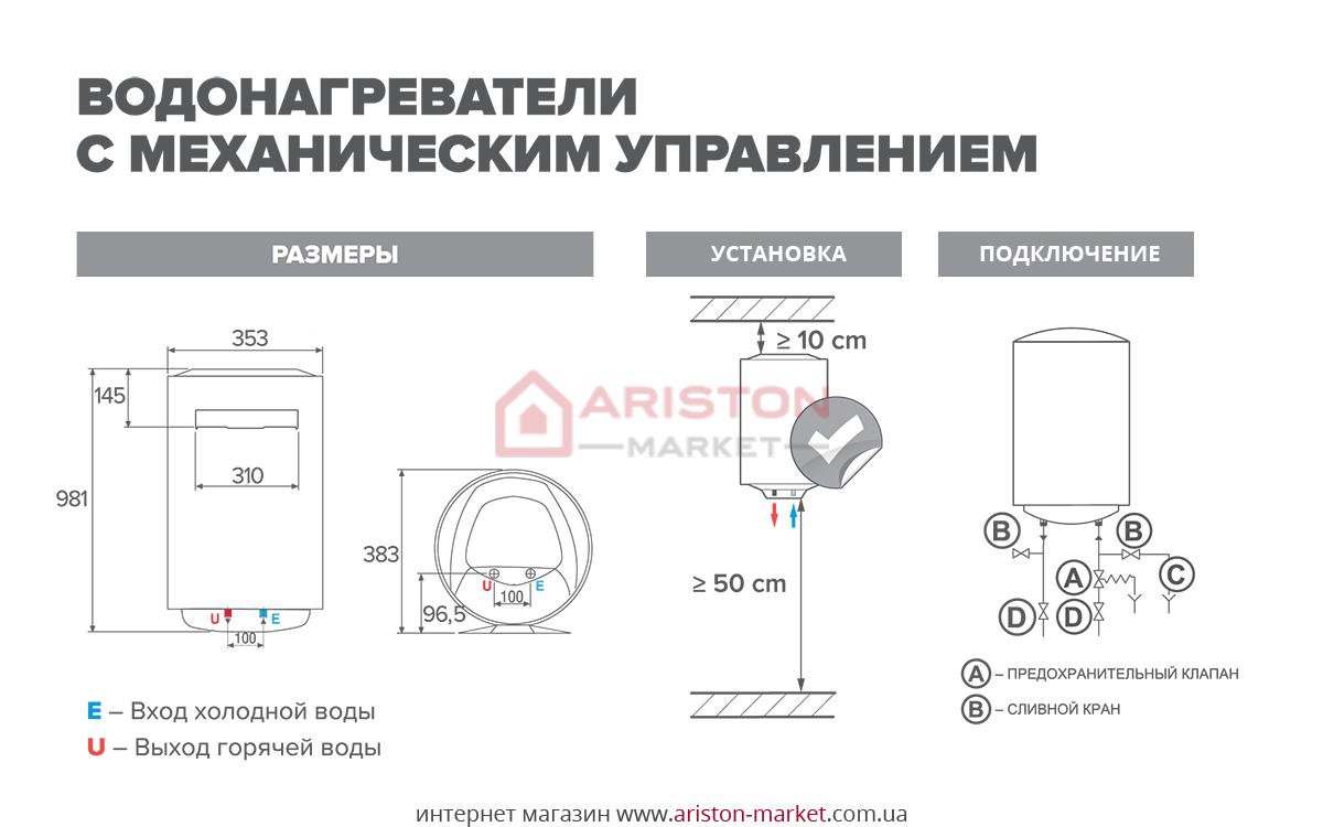 Ariston ABS PRO R 65 V Slim схема, габариты, чертеж
