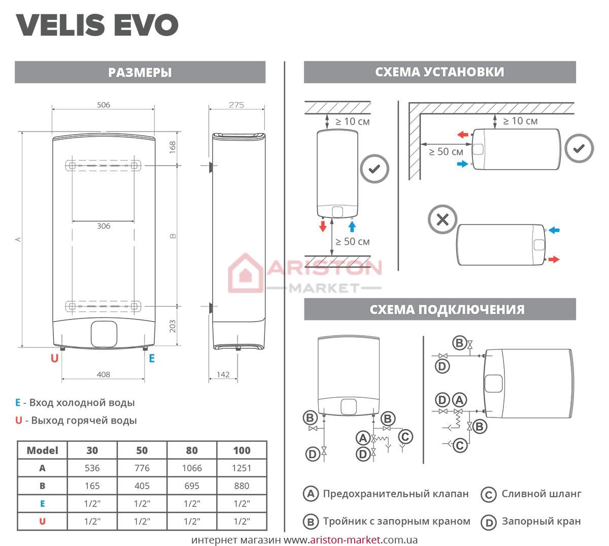 Ariston ABS Velis Evo Power 50 D схема, габариты, чертеж