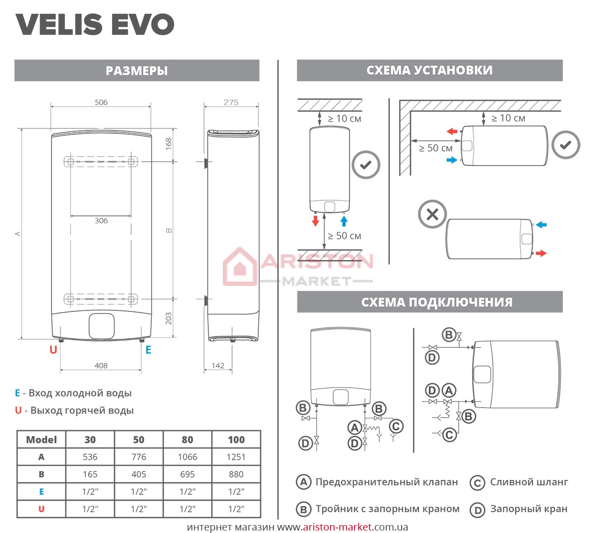 Ariston ABS Velis Evo Power 80 схема, габариты, чертеж