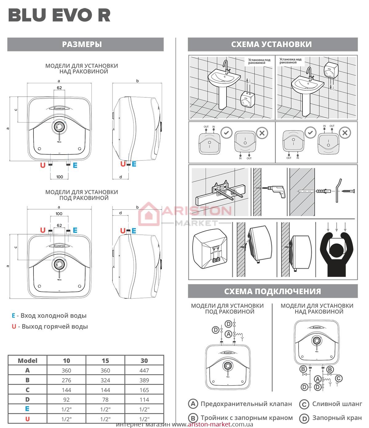 Ariston BLU Evo R 10/3 схема, габариты, чертеж