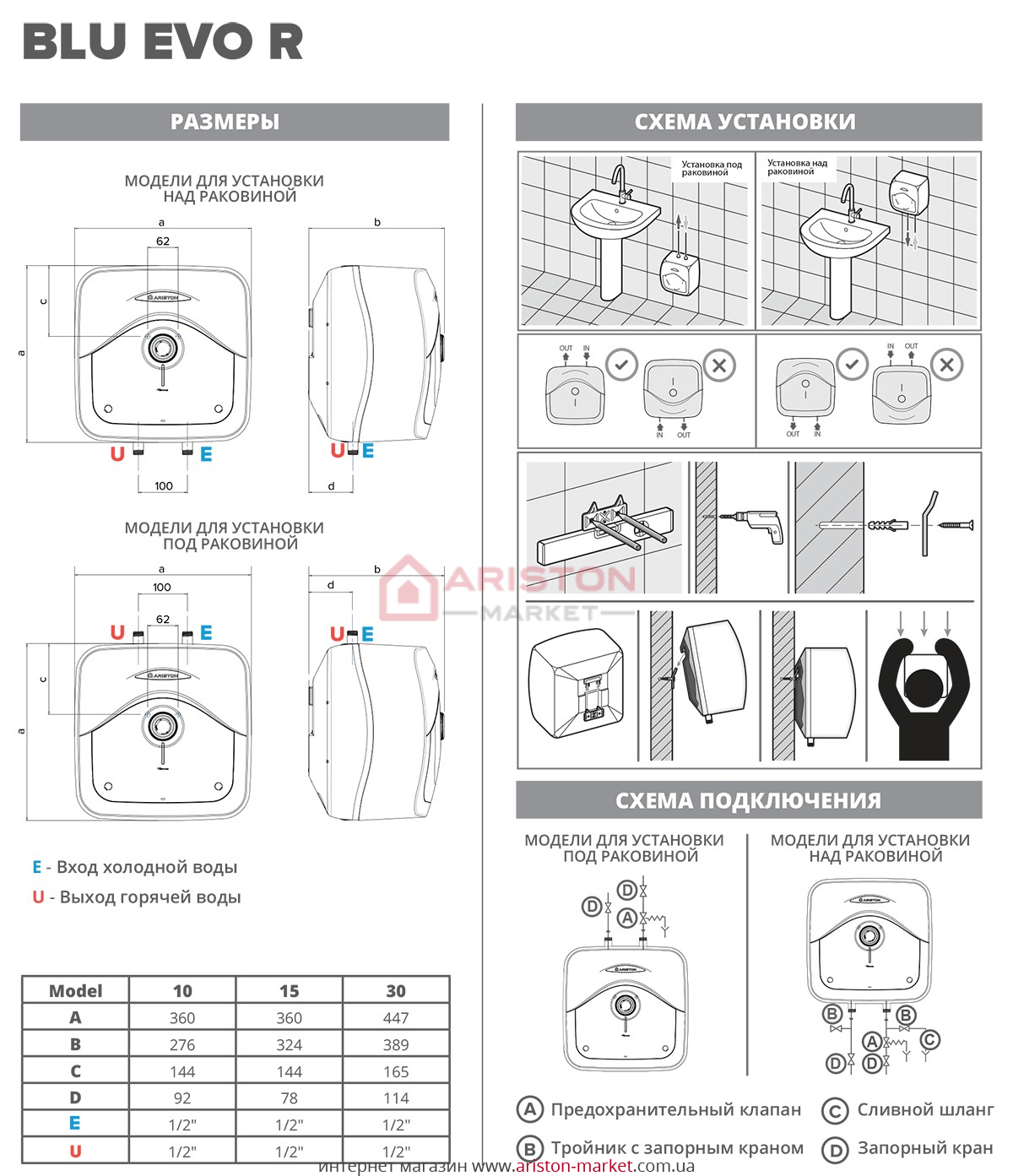 Ariston BLU Evo R 30/3 схема, габариты, чертеж