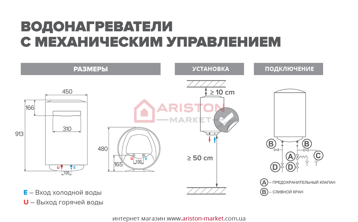 Ariston PRO R 100 V схема, габариты, чертеж