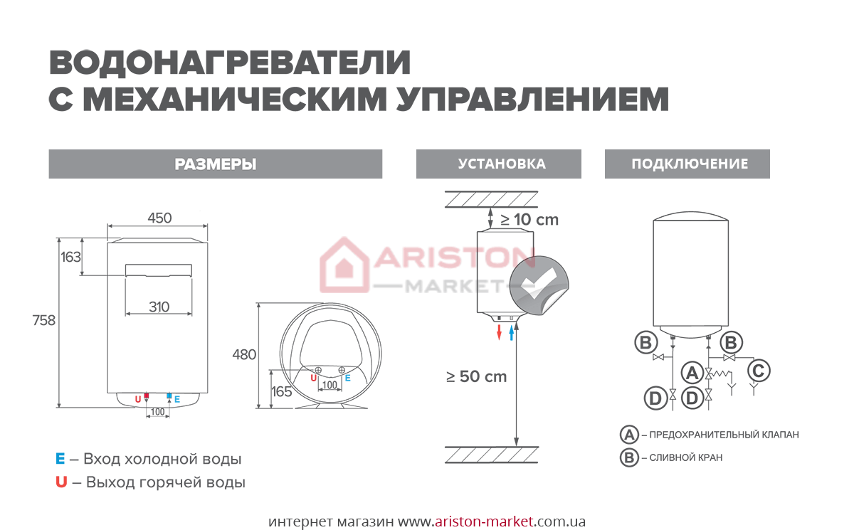 Ariston PRO R 80 V схема, габариты, чертеж